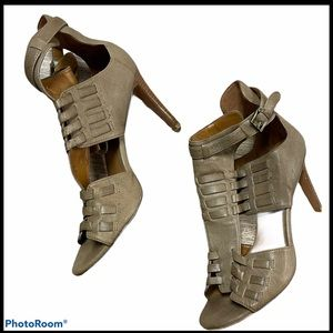 Nine West woven open toed heeled bootie taupe 7